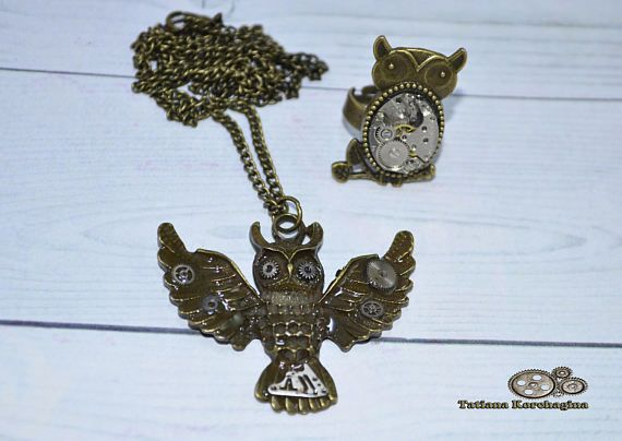 Jewelry set ring and pendant Owl bird color bronze vintage