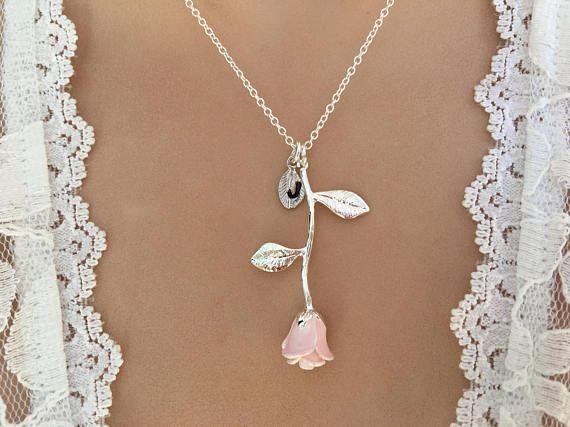 Ursprüngliche rosa Rose Halskette Pink Rose Anhänger Jubiläum