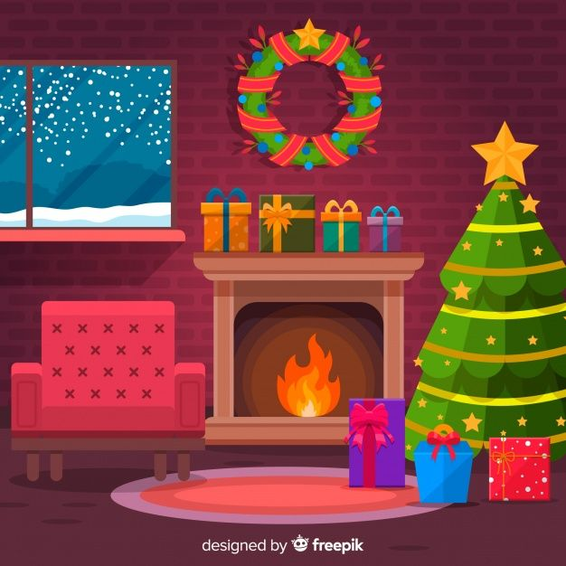 Download Flat Armchair Christmas Fireplace Scene For Free