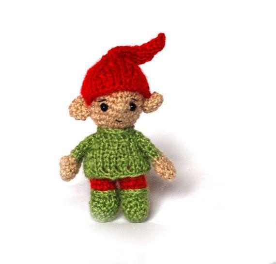 $33.82 Christmas ELF, Santa's little helper, Xmas elf, crocheted elf, stuffed toys, miniature elf, #Christmas #stocking, winter shelf sitter elf, fiber #art by crochAndi