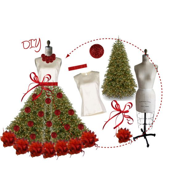 DIY Dress Form Christmas Polyvore Tree by tes-gray on Polyvore featuring art and dress