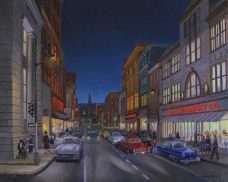 """""""Cumberland; Baltimore Street-Friday Night, November, 1955"""" by James C. Groves. Oil on canvas"""