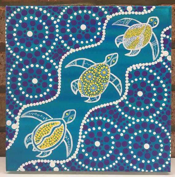 Aboriginal Dot Art On Canvas, Ocean Painting, Acrylic, Sea