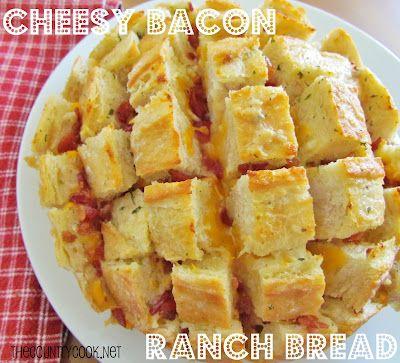 The Country Cook: Cheesy Bacon Ranch Bread. Soooooooo yummy.