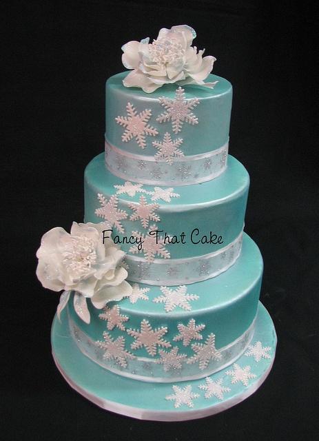 Blue Winter Wedding by FancyThatCake, via Flickr