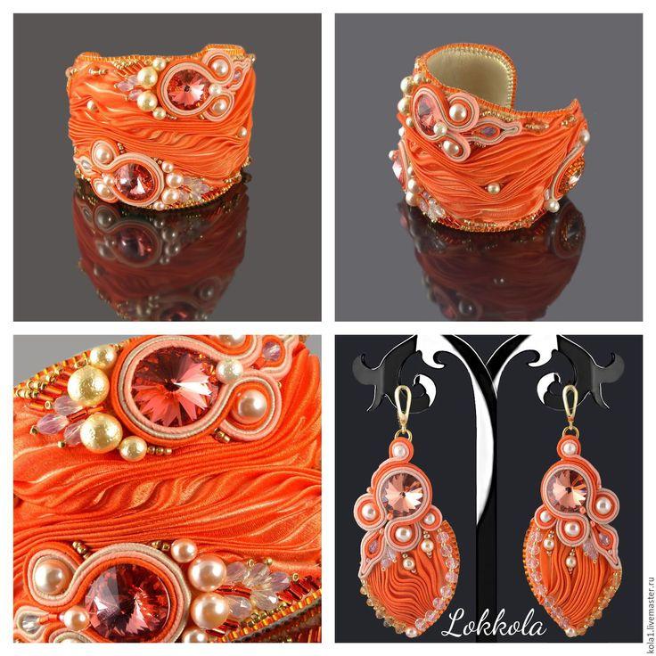 Купить Комплект шибори (оранжевый) - оранжевый, широкий браслет, огонь, яркий браслет, комплект украшений