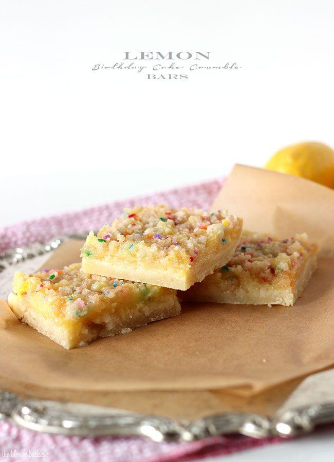 Lemon Birthday Cake Crumble Bars