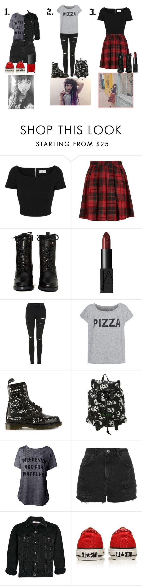 """""""Rena Lovelis Inspired Outfits."""" by sophie-irwin ❤ liked on Polyvore featuring Preen, Report, NARS Cosmetics, Topshop, Dr. Martens, Converse, GetTheLook, music, Inspired and heyviolet"""