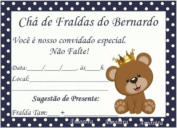 Tag Convite Cha De Bebe Azul Marinho