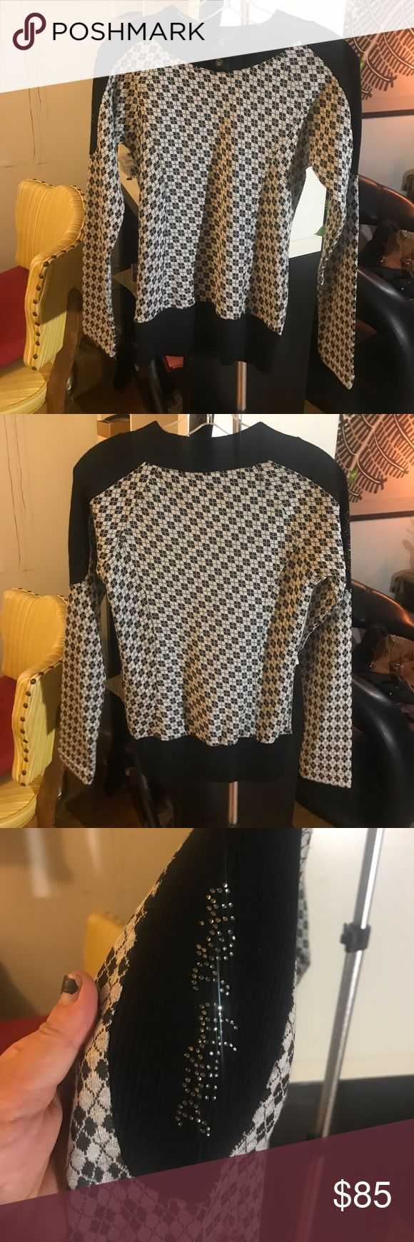 Phillipp Plein geometric black and grey sweater Phillipp Plein, geometric, black and grey, sweater with skull buttons at neck and crystal embellished logo on right shoulder. No flaws! Like brand new. Phillipp Plein Tops