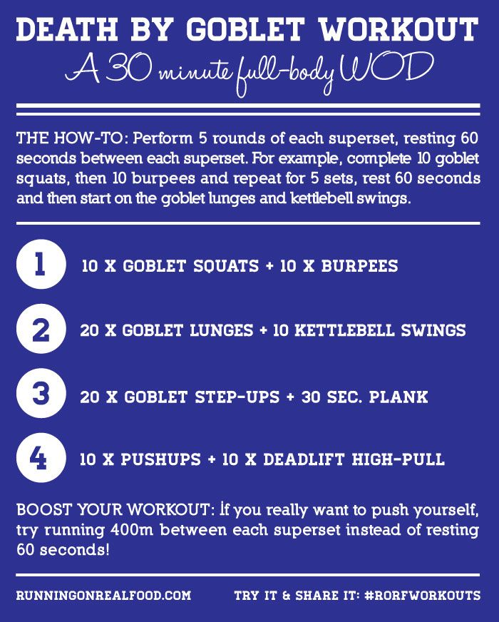 Death by Goblet Workout - A 30 minute total body conditioning WOD. #workouts #fitness #crossfit