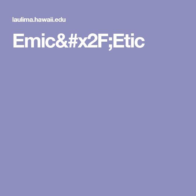 Emic/Etic