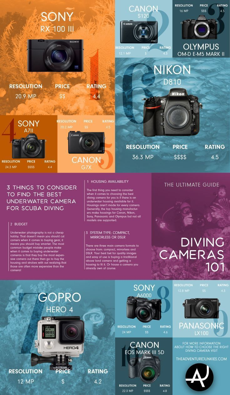 Top 10 Best Diving Cameras of 2017 – Underwater  Photography Tips - Scuba Diving Gear and Equipment Posts – Dive Products and Accessories via @theadventurejunkies #scubadivingequipmentgears