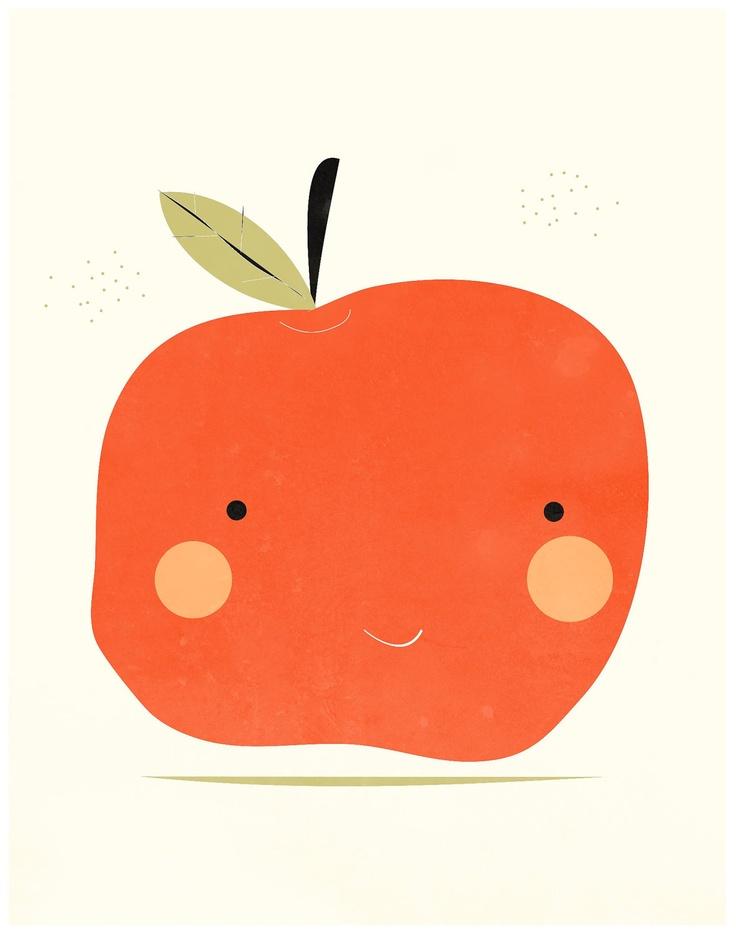 Apple art print illustration - 8x10 - green and red - kitchen nursery art. $14.00, via Etsy.