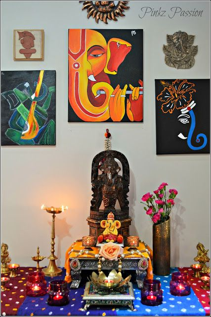 Ethnic Indian Décor for festivals, Festival décor, Ganesh Chaturthi, Ganesh Chaturthi Décor ideas, Ganesha collage wall, Ganesha collection, Indian Decor, Indian festival, traditional décor