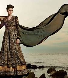 DESIGNER PARTY WEAR SEMI STICHED ANARKALI SUITS WITH HEAVY EMBROIDERY WITH PURE CHIFFON DUPATTA