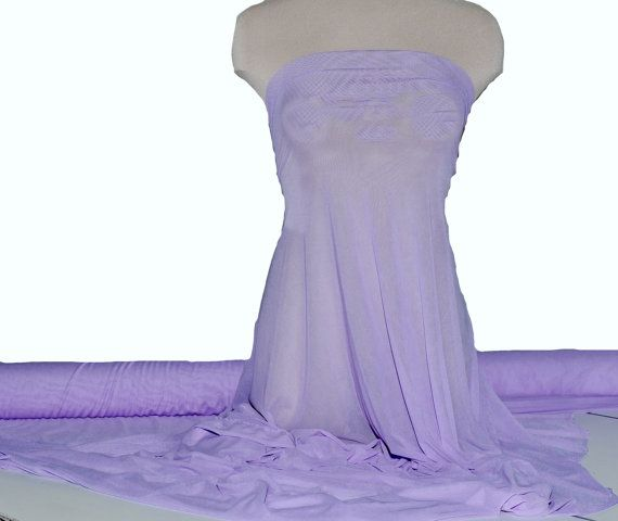"""Power mesh stretch fabric, semi sheer, 4 ways stretch..Pale Lavender  . 58 """" wide.. dance, pageant, formal, costume,"""
