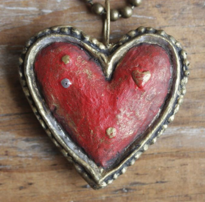 "rich and textured red heart for love, just fabulous, 30"" ball chain holds almost 3"" chunky and beautifully textured heart, moulded papier mache"