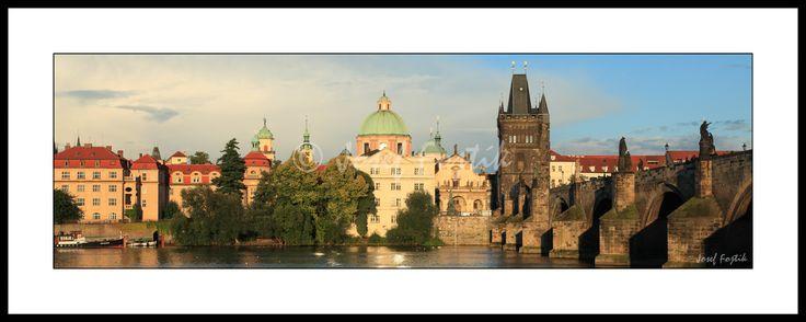 Framed fine art print - Vltava River, Novotny Bridge and Smetana's Embankment, Prague, Czech Republic. Photo: Josef Fojtik - www.joseffojtik.com - https://www.facebook.com/Fineartphotoprints