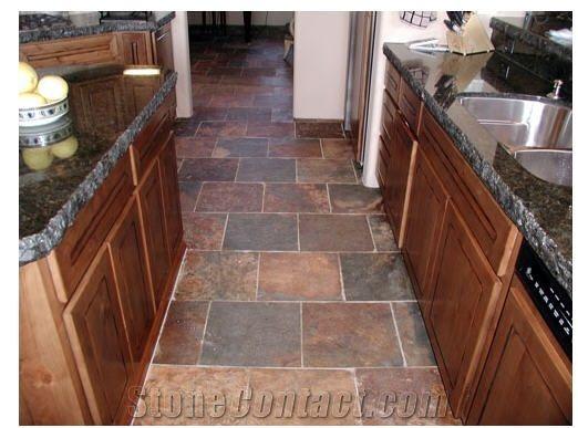 Slate floor kitchen | Wild fire slate kitchen floor-United States Slate Tiles,Slabs