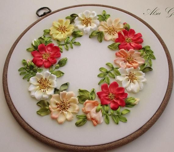 Flower Shelf ribbon embroidery DIY kit wall room decor