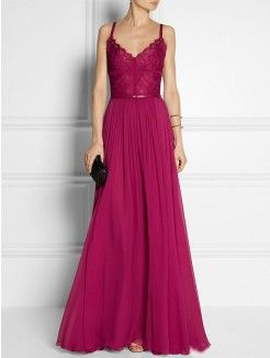 A-line/Princess Spaghetti Straps Sleeveless Sash/Ribbon/Belt Floor-length Chiffon Dress