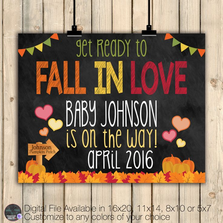 Fall Pregnancy Announcement Chalkboard Poster, Fall Pregnancy Reveal, Fall In…