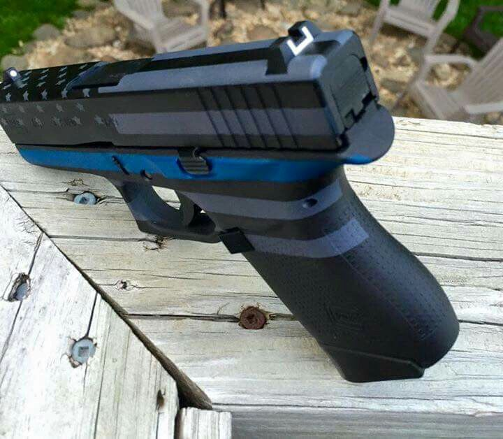 Glock 43- love the design on it! #Thin blue line#