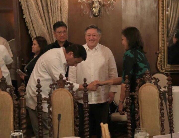 President Rodrigo Duterte bows down and respectfully greets VP Leni Robredo before the cabinet meeting.