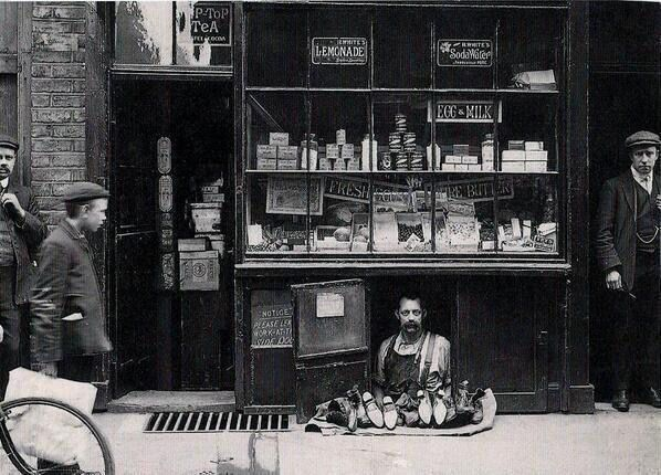 The smallest shop in London, c. 1900.