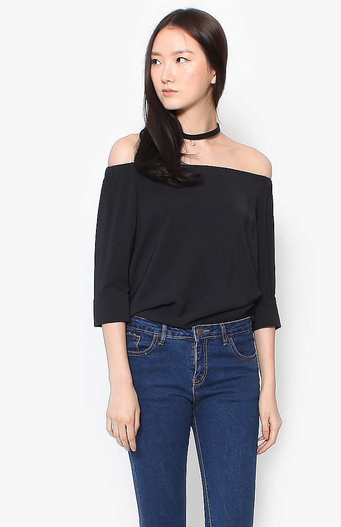 Juliette Off Shoulder Blouson - Black