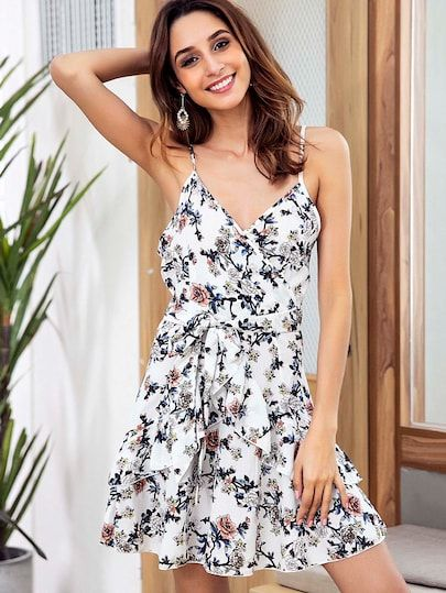 c3cc7624ae63 Floral Print Ruffle Trim Belted Cami Dress | New In Dresses ...