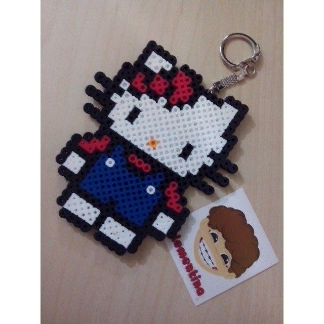 Hello Kitty keychain perler beads by clementinainventa