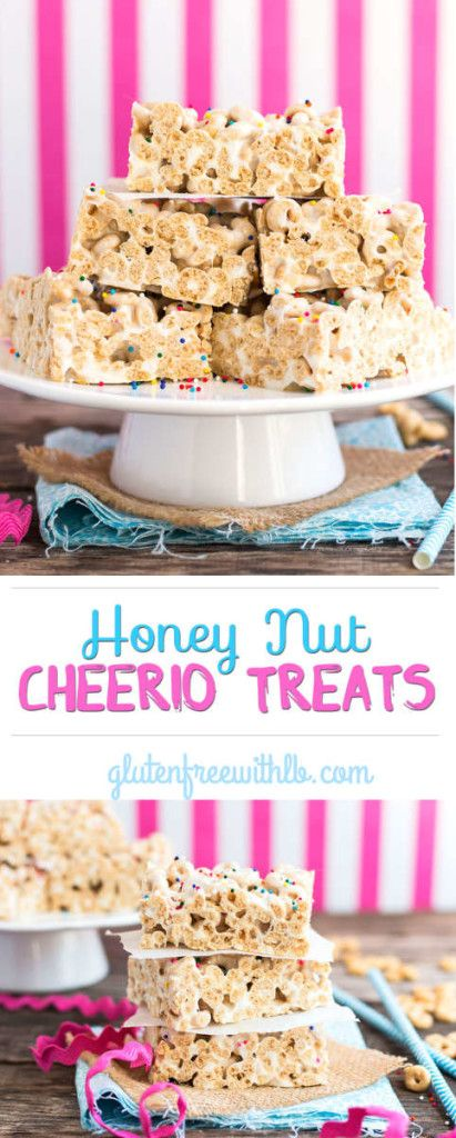 A kid-friendly, gluten free version of the classic rice krispie treat made with Honey Nut Cheerios!  Only 3 ingredients and 5 minutes needed to make this snack bar recipe.