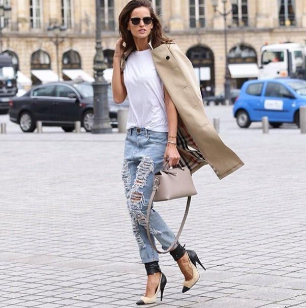 la modella mafia 2014 models off duty street style - Izabel Goulart in a Burberry trench coat and Isabel Marant pumps