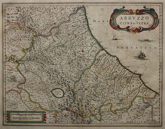 """Abruzzo Citra et Ultra  (Amsterdam 1639)  Carta geografica tratta dall """"Atlas Novus"""" edito da Henricus Hondius e J. Jansson. I due cartografi Olandesi rielaborarono a partire dal 1636 il lavoro del Mercator,inizialmente utilizzando e correggendo le sue lastre e sucessivamente arricchendo i loro Atlanti con nuove carte piu' accurate e moderne come questa."""