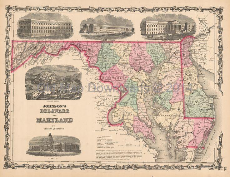 Delaware Maryland Old Map Johnson 1861 Digital Image Scan Download Printable  - Old Map Downloads