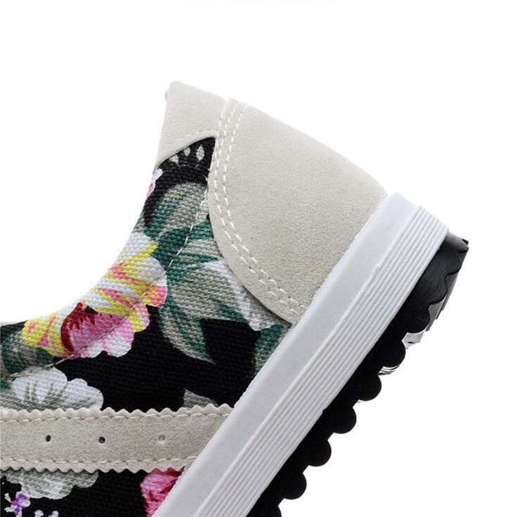 Cheap New Fashion Women Canvas Sneakers Flats Floral Print Lace Up Online black 5.5   Tomtop