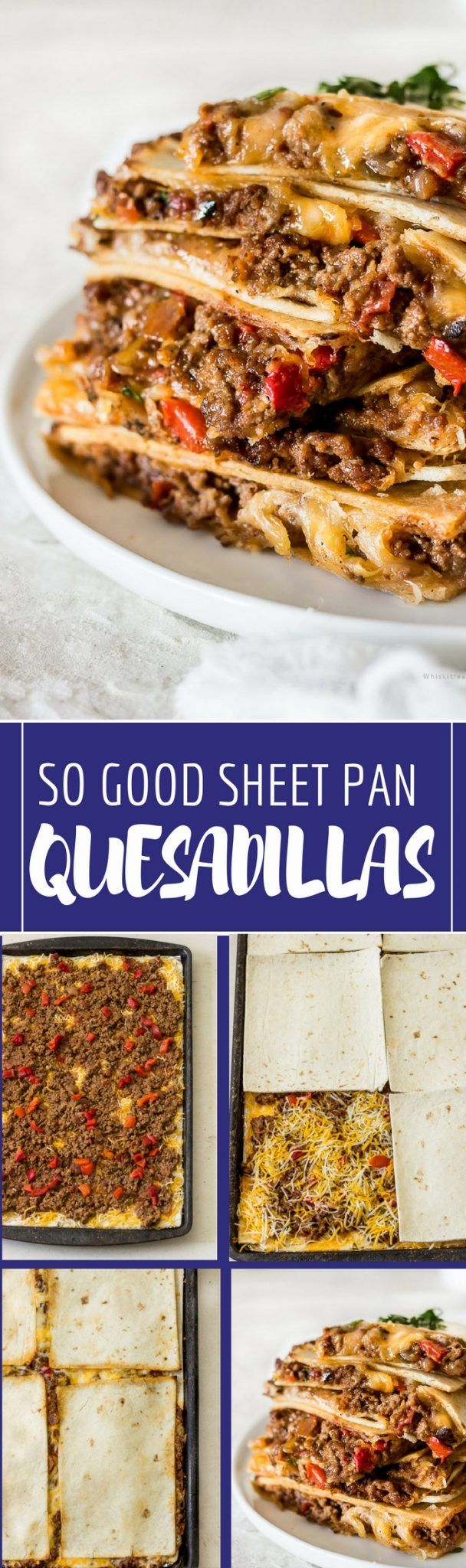 Sheet pan quesadillas are baked in the oven instead of the stove. These baking sheet quesadillas are made with soft flour tortillas and their loaded with grou