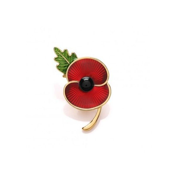 Poppy Shop Poppy Collection Enamel Pin with leaf Gold Tone (6.192 KWD) ❤ liked on Polyvore featuring jewelry, brooches, brooch, poppy brooch, enamel brooch, leaf jewelry, leaves jewelry and pin brooch