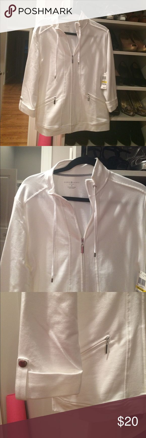 NWT White Karen Scott Sport Jacket. New with tags white Karen Scott Sport Jacket. Purchased at Macy's . Never been worn. Tags still attached! Karen Scott Jackets & Coats