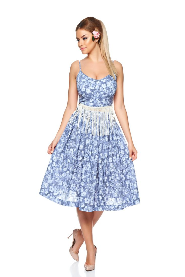 PrettyGirl Edging DarkBlue Set, floral prints, prewashed fabric, side zip fastening, back zipper fastening, nonelastic fabric