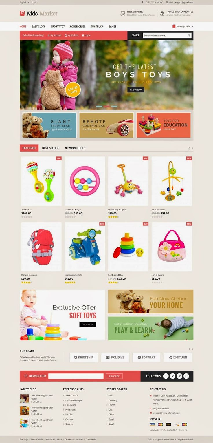 Kids Market Multipurpose Magento Responsive Theme #toys #children #shop