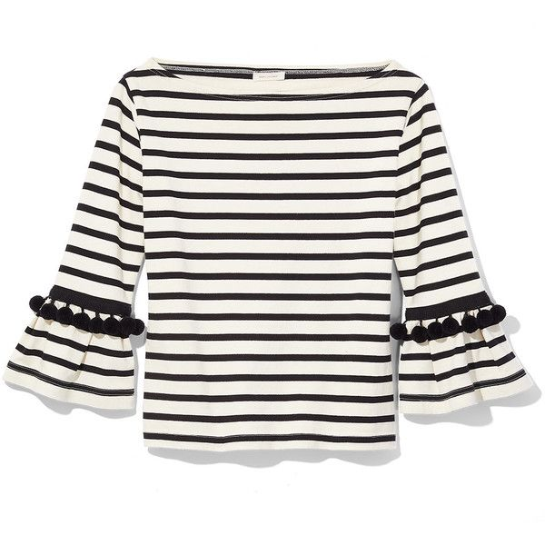 Marc Jacobs Black & White Stripe Pom Top (€240) ❤ liked on Polyvore featuring tops, white and black top, patterned tops, print top, striped top and marc jacobs top