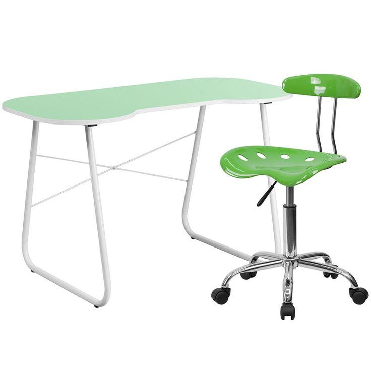 Flash Furniture NAN-12LF-GG Green Computer Desk and Tractor Chair