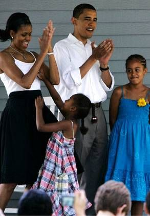 """<p><span>The Obamas celebrate his Democratic nomination in the primariesat a rally in St. Paul, Minn. This also marks the beginning of Michelle Glam-bama's fashionista status—she looks radiant and sleekin this fuchsia Maria Pinto dress.<br /></span></p><p></p><p><span><a href=""""http://www.eonline.com/photos/gallery.jsp?galleryUUID=4ea5d7f9-..."""