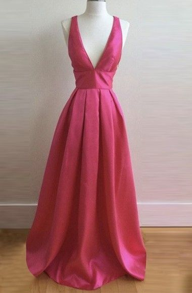 A-line Deep V-neck Criss-Cross Straps Floor Length Rose Pink Prom Dress with Pleats