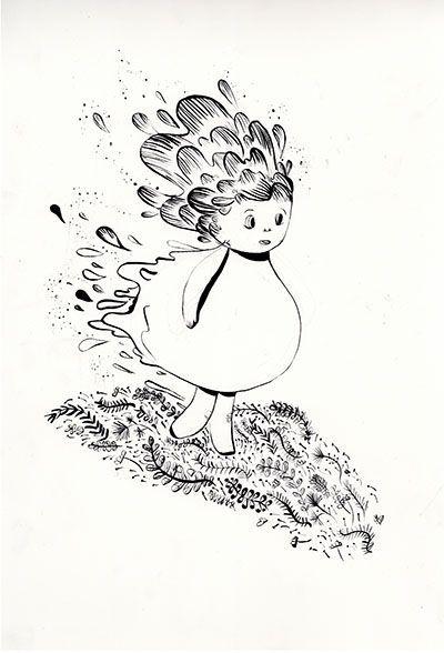 "The Karport Shop - Bloodlines ""Polly"" - ink illustration of girl - foliage - Pictoplasma all star exhibition 2015 karina posborg ink artwork"