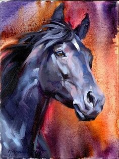 This painting called Indigo Night by Michelle Grant looks alot like Jo's horse Star.