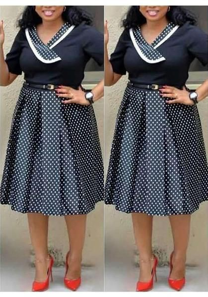 90a16bb006f3 Black-White Polka Dot Pleated Formal Plus Size Short Sleeve Party Banquet Midi  Dress